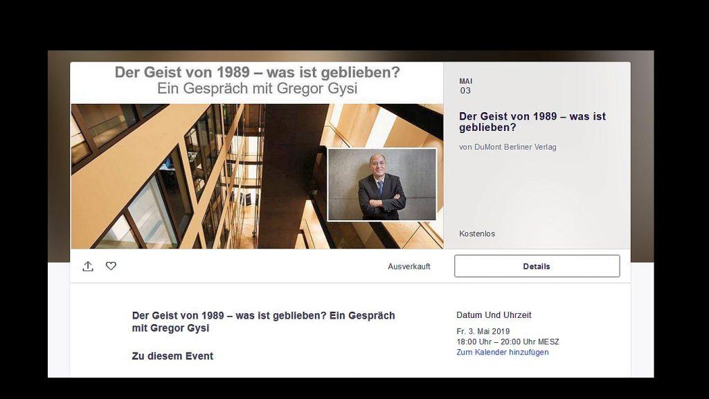 """Berliner Zeitung und Berliner Kurier haben zu einer Veranstaltung eingeladen, die den Titel trägt """"Der Geist von 1989 – was ist davon geblieben?"""". Gast im Newscafé des Berliner Verlages: Gregor Gysi."""