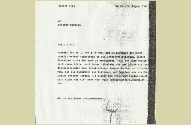 Beschlagnahmtes Schreiben von Gregor Gysi an Dietmar Bartsch vom 5. August 1991